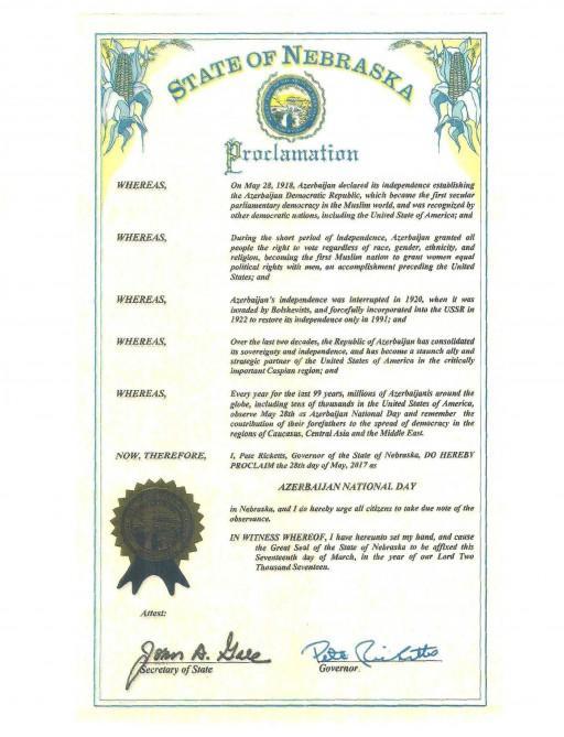 State of Nebraska Proclamation May 28